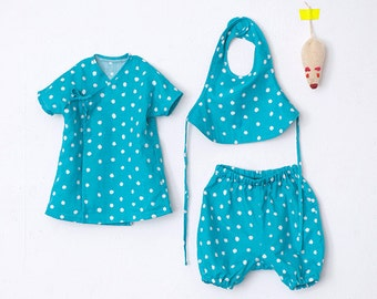 Nani Iro Japanese sewing pattern - Baby's set - kimono top, pants, bib