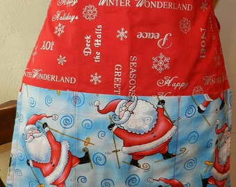 Holiday Apron with Santa and holiday greetings half Apron Reversible with pockets on both sides. Great gift Under 20