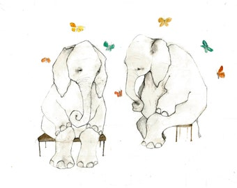 two elephants and butterflies print