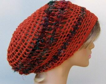 Slouchy hat in Pure Hemp sari silk, Hippie Dreadlock Snood Tam Hat, dull orange,  Slouchy Beanie Hat woman, Bohemian chic, BoHo beanie hat