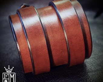 "Leather cuff bracelet Double strap 3"" rich brown bridle Leather custom made for you in NYC by Freddie Matara"