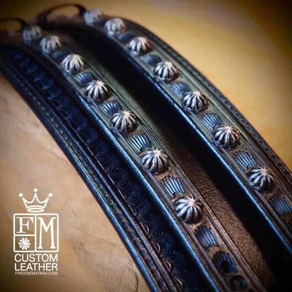Leather Wrist Cuff Traditional American Black wristband COWBOY Rockstar Vintage Old West Bracelet Handmade for YOU in NYC by Freddie Matara!