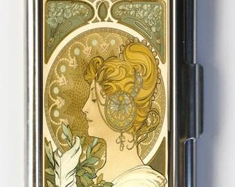Art Nouveau La Plume Business Card Holder Card Case