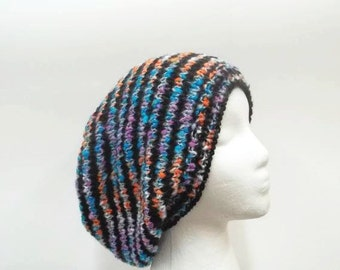 Knit slouchy beanie hat  black stripes and multi-color large size 5267