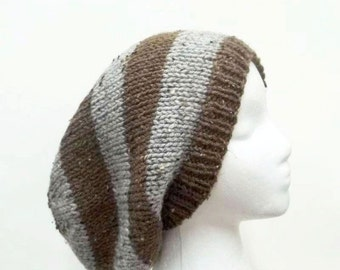 Slouch hat hand knitted , brown and gray textured,oversized beanie 5118