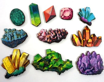 Crystals and Minerals Collection - 11 Wooden Laser Cut Craft Pieces