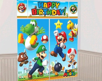 Super Mario Brothers Happy Birthday Scene Setter Banner/Wall Decoration Kit