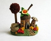 Miniature   Autumn Whimsy Fairy Acorn House  OOAK by C. Rohal