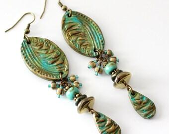 Long Bohemian Earrings, Turquoise, Bronze, Antique Brass, Polymer Clay, Extra Long, Lightweight, Verdigris Patina, Beaded Earrings, OOAK