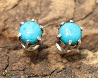Turquoise post earrings in silver prong setting