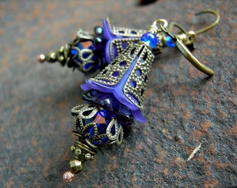 Faery Flower Earrings, Royal Purple & Cobalt Blue, Victorian Romantic, Lightweight Earrings, Colorful Boho Chic, Elksong Jewelry