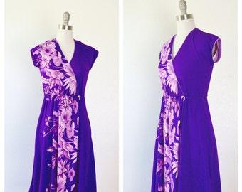 boho purple floral dress / floral print disco dress / small