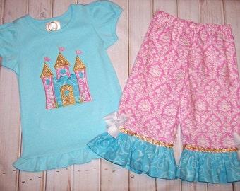 Princess Castle Applique Shirt and Ruffle Pants Shorts OR Capris - Princess Birthday Party - School - Vacation - pink damask pants