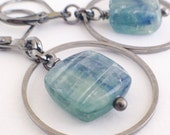 Green Kyanite Small Hoop Stone Everyday Earrings