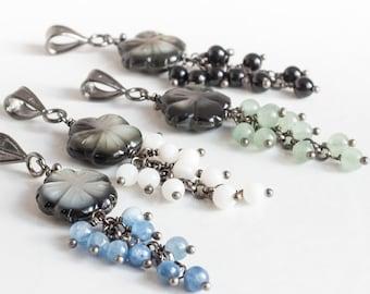 Black Lip Shell with Medium Genuine Stone Cluster Pendant Necklace Blue Kyanite White Mother of Pearl Green Aventurine Black Onyx