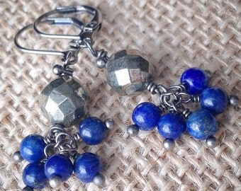 Pyrite and Lapis Lazuli Cluster Earrings