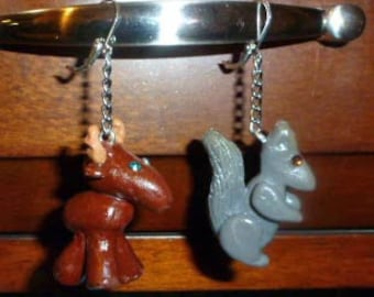 Moose and Squirrel Earrings - W052