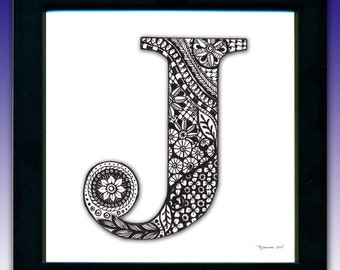 Framed 'J' Monogram Print