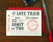 letterpress customizable love train ticket greeting card admirer valentine wedding anniversary pink black red