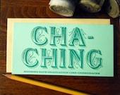letterpress cha-ching graduation like greenbacks money holder greeting card