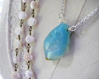 Blue Druzy Necklace, Sterling Silver, Rolo Chain, Aqua Blue Pendant, Druzy Necklace, candies64