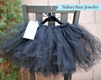 Black Tutu Skirt, Black Tulle Skirt, Little Girl Skirt, 1st Birthday Skirt, Flower Girl Tutu Skirt, Light and Fluffy Tutu Skirt, Halloween