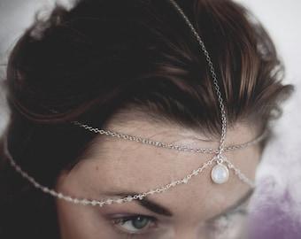 Luna Goddess Moonstone Head Chain / Chain Head Dress / Bohemian Head Chain / Goth Festival / Bridal Headpiece