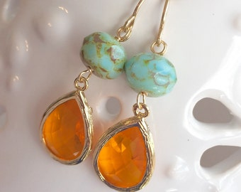 Orange Glass and Mint Green Czech Bead Drop Earrings, 14K Gold Filled, Sea and Sky
