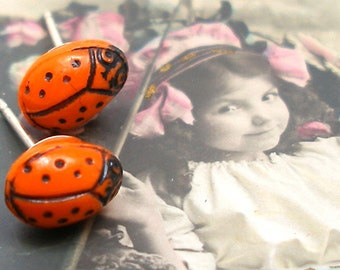 1920s Ladybug BUTTON earrings, Orange glass on sterling silver posts. Antique button jewelry, jewellery.
