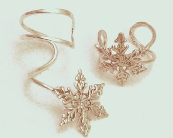 Sterling  EAR CUFF Pair -  BLIZZARD - 2 Intricate Silver Snowflake Earcuffs