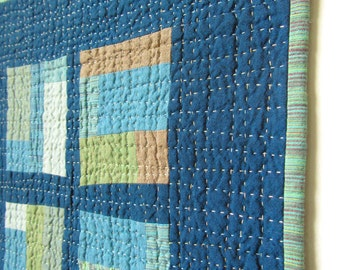 Square quilted wall hanging. Modern art quilt. Cross quilt 14.25 x 13.5. Hand quilted textile art. Small blue quilt. Home decor wallhanging.