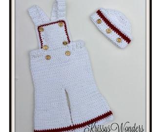 Bib Overall Pattern- Crochet Hat Pattern - Sailor Hat - Baby Bibs - Momma's Lil' Firecracker - Pants Crochet Pattern