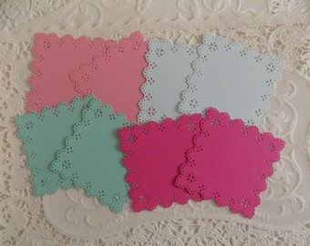 Colored Eyelet Lace Square Paper Doilies
