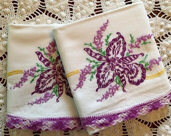 Vintage Embroidery Pillow Cases - Vivid Purple Irises w Crochet Trim - Pair - New Unused - Crisp