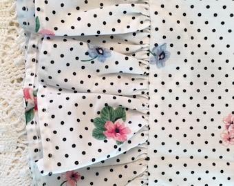 Pair of Utica Pillowshams - Summer Garland Pattern - New in Package - Ruffle Shams -  Petite Pattern w/ Polka Dots