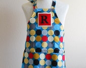 SALE Kids Apron / Toddler Ages 2-6 Personalized Letter  -Teal Dot Reversible Apron with Pockets