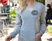 Monogrammed North Hampton Charles River Scoop Neck Sweatshirt Pullover with Pockets - Heathered Gray - Left chest monogram - long sweatshirt