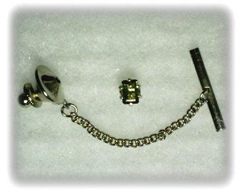 6x4mm Green Tourmaline Gemstone in 925 Sterling Silver Tie Tack