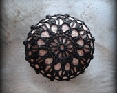 Crochet Lace Stone, Black, Table Decoration, Collectible, Home Decor, Nature, Handmade, Round, Monicaj