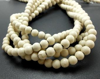 68 Natural White Howlite Beads 6MM (H7001-OS)
