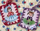 Retro Ladies - 2 Crochet Ornaments / Tags - Recycled Vintage Bridge Tallies