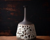 Ships Now- seconds sale-  one stoneware modern ceramic vase in raw black clay and volcanic lava glaze