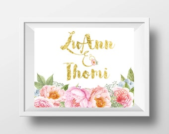 Gold Names with Peonies