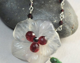 SALE Garnet Swarovski Flower Necklace