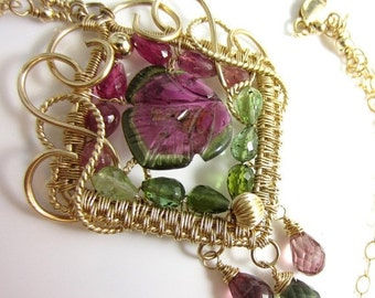 SALE The Watermelon Queen Necklace - 14k Wire Wrap Gold Fill Pendant with Carved Watermelon Tourmaline