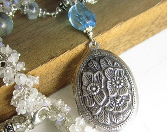 SALE Clear Rain to Water the Flowers - Sterling Vintage Locket, Swiss Blue Topaz, and hand-linked chain with moonstone