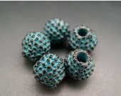 BIG SALE Naos Mykonos Beads Greek Beads Bali Style Ball Bead Antiqued Green Patina 8mm