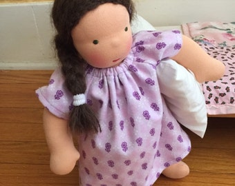 Waldorf doll clothes, 12 inch doll clothes, Purple Flowers, doll Nightgown, doll dress, waldorf doll, cloth doll, rag doll, gift for girls