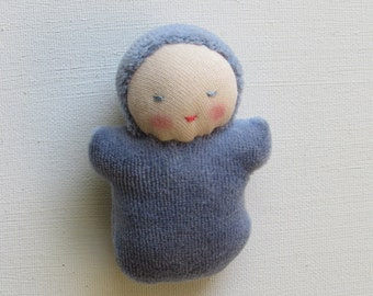 Waldorf pocket doll, germandolls, Denim Blue