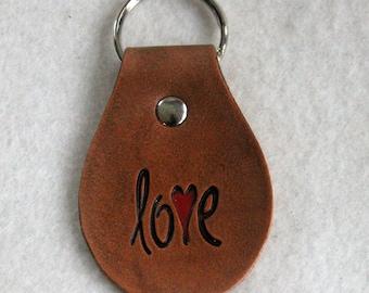 Leather Key Fob - love